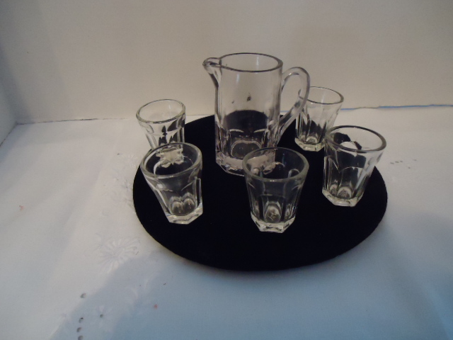 Antique Child Water Set- child's vintage glassware, Colonial Flute pattern, small glasses
