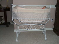 French  Wire Rocking Cradle-Antique, wire cradle, late 19th C., French