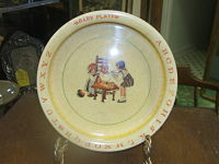 ABC Feeding Dish- vintage ABC bowl; children's; feeding bowl; storybook figures
