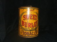 Sweet Burley  Tobacco Advertising Tin-Painted tobacco tin, advertizing logo