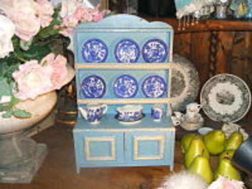 Child's Antique  Blue Hutch-Antique, Hutch, blue and white, 19th century, child's playhouse furniture.