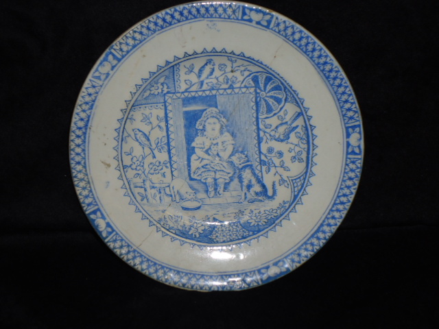 Blue Transferware Child's Plate-Girl with Pets by Allerton & Sons transferware, blue color,child's china,antique Staffordshire