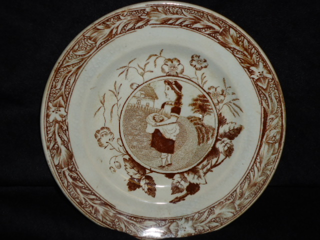 Child  Staffordshire Plate-Brown transferware, child in profile, border, excellent, May pattern.