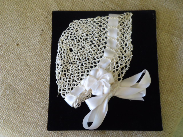 Beautiful Tatted Bonnet-tatted bonnet; white, antique, hand sewn,