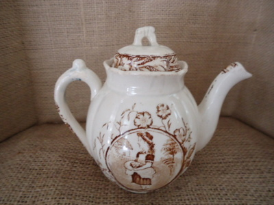 Children's Staffordshire Teapot-Staffordshre, child, brown & white, May pattern, England. pottery.