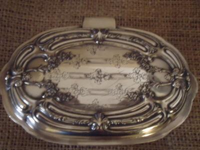 English Silver Plate Trinket Box-Trinket Bob, silver plate, English