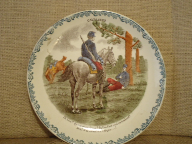 Cavaliers Plate  France-Choisy French, transferware, late 1800's, HB&C factory
