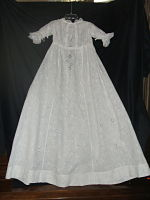 Antique Heirloom-sewn Dress 3-Antique; baby; eyelet fabric, lace trim; ribbon gathered
