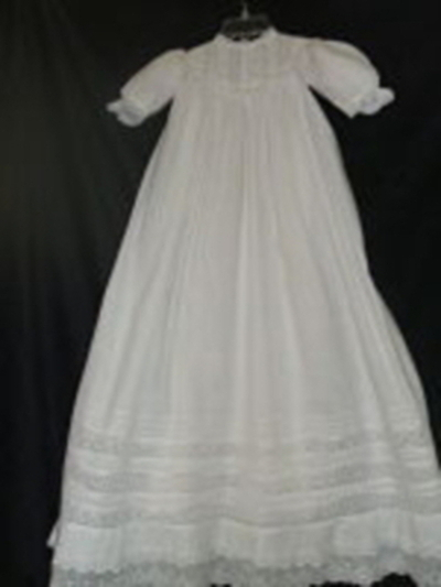 Antique Baby Baptism Dress-Victorian; batiste; baby christening gown; pin tucks; eyelet trim; 24 inch skirt, baptismal, eyelet lace