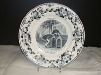 French Exposition Plate-French, transferware, black & white, LM&C, Creil factory, transfer scenes