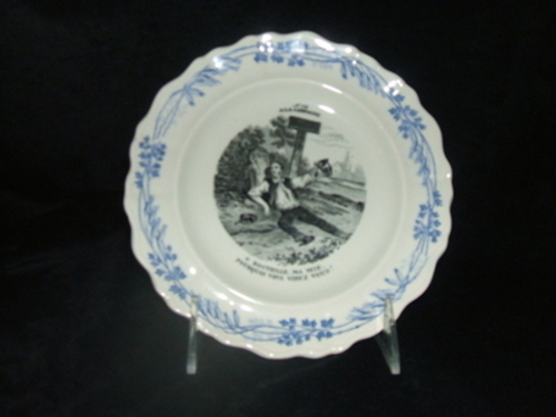 French Plate 12 Ala Campagne-French, Creil, transfer, French scenes, blue & white