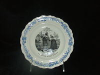 French Plate 4 Ala Campagne-French, transferware, Creil factory, blue & white, French scenes in black & white