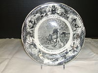 1875 French Transferware Plate-French transferware. 1875. black  white. vintage potterycollectible