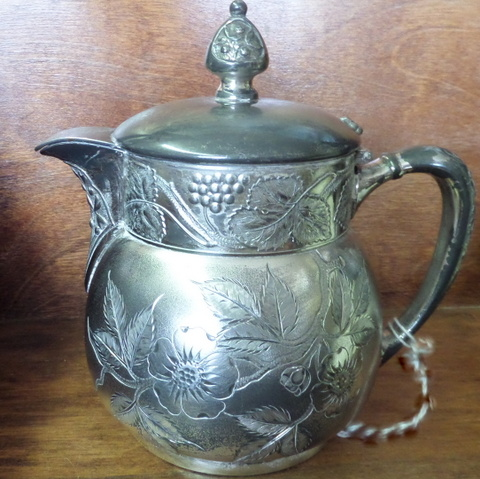 Silverplate Repousse'Creamer-Silverplate, repousse', style Victorian