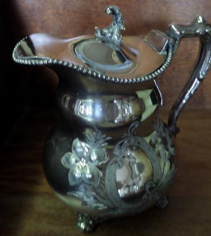Victorian Quadruple Plate Creamer-Victorian, silverplate, repousse', 6 inches.