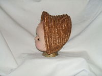 Child's Antique Bonnet-child's chip straw,antique, bonnet,golden brown,late 19th century