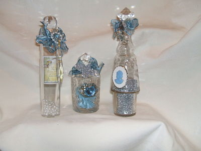Vintage Blue Vanity Bottle Trio-