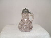 Vintage S.P. Bullshot Syrup Pitcher-pressed glass, silver plate, patterned glass,antique