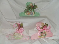 Decorative Baby Hangers-small hangers, hand decorated, storybook figues, flower and ribbon decoration.