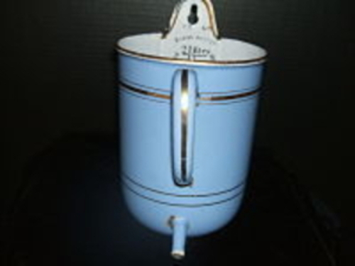 French Enamel Irrigator-French, robin's egg blue, enamel,irrigator,