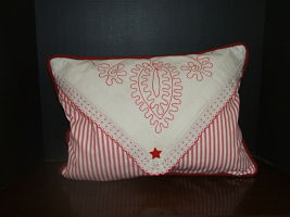 Red Work Ticking Pillow-Redwork,embroidery,vintage,feather down, decorative pillow,ticking fabric