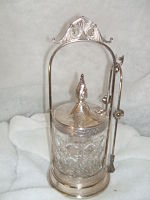 Victorian  Pickle Castor c.1890-Rogers Mfg. co. Victorian quadruple silver plate, crystal insert, antique silver plate.